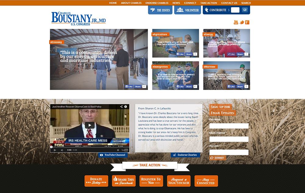 Usable Creative Website Project for Charles Boustany for Congress